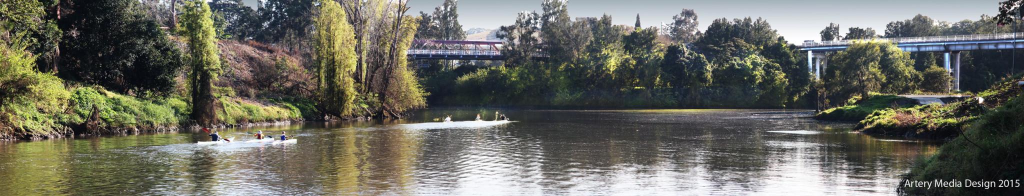 Panorama of Wilsons River in Lismore